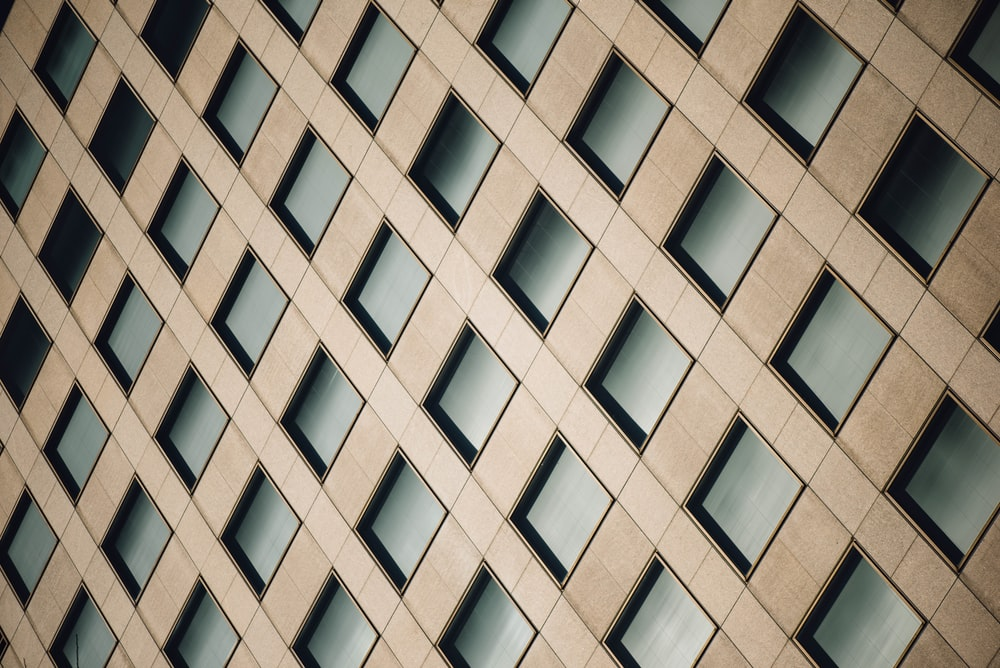 A wall with a diagonal pattern of squares.
