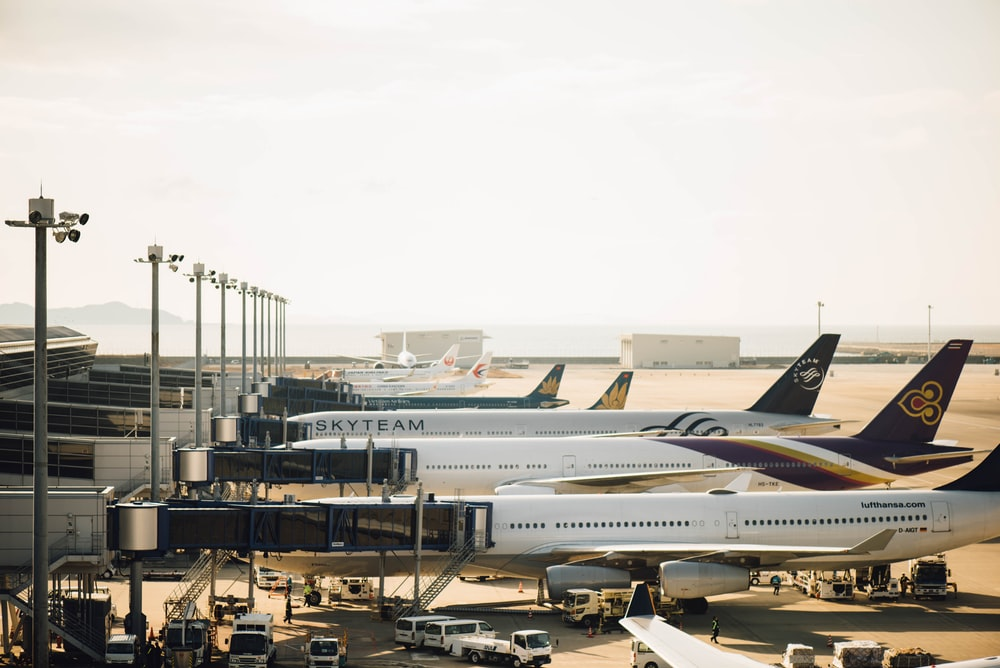 four planes at the airport