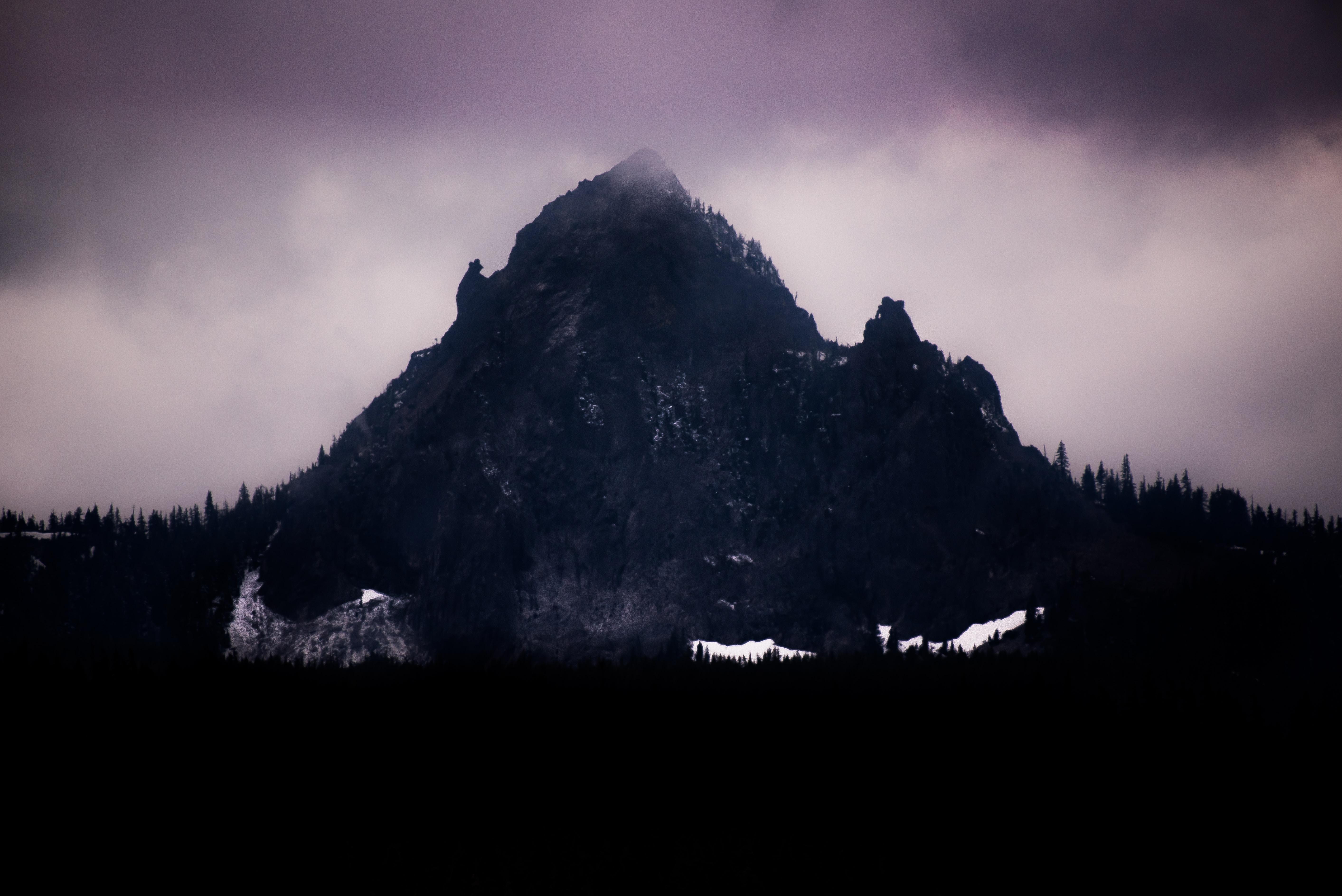 gray mountain at nighttime
