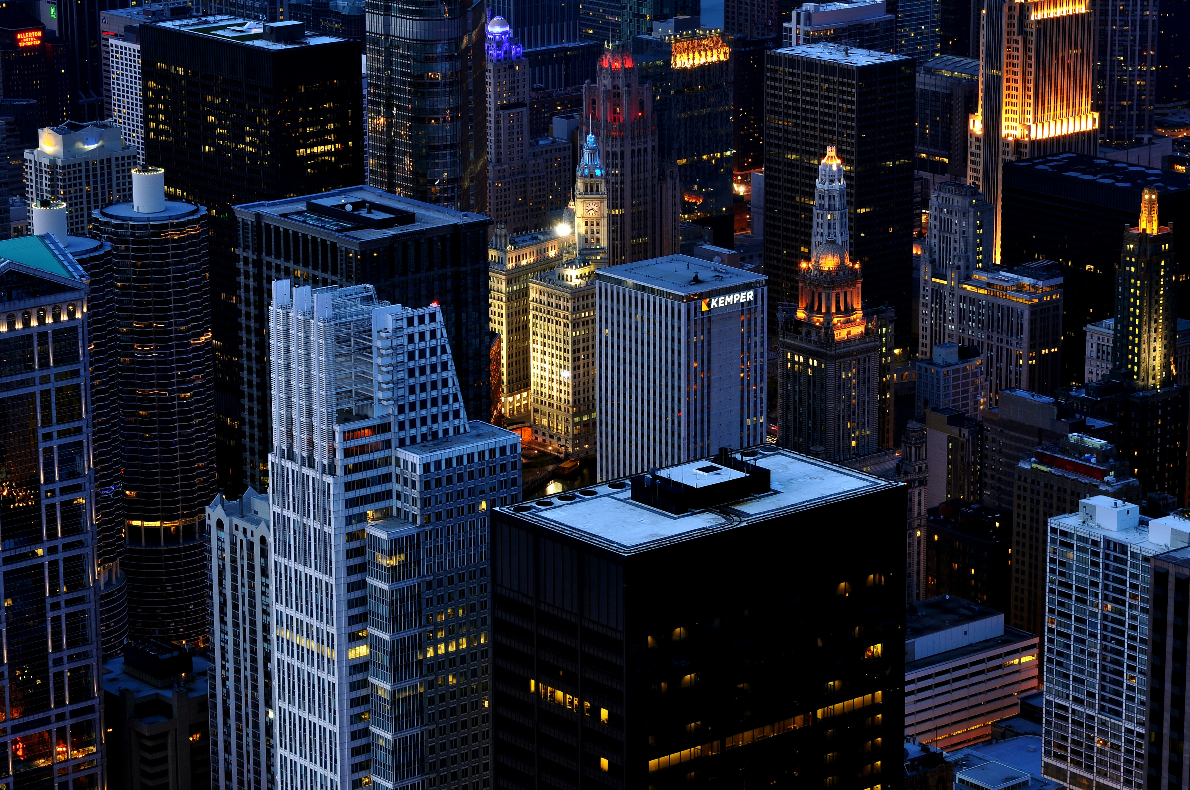 A high shote of high-rises in downtown Chicago at night