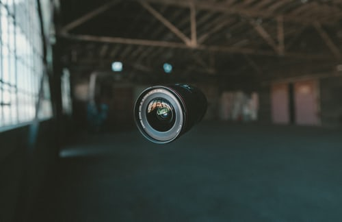 Camera lense suspended in air
