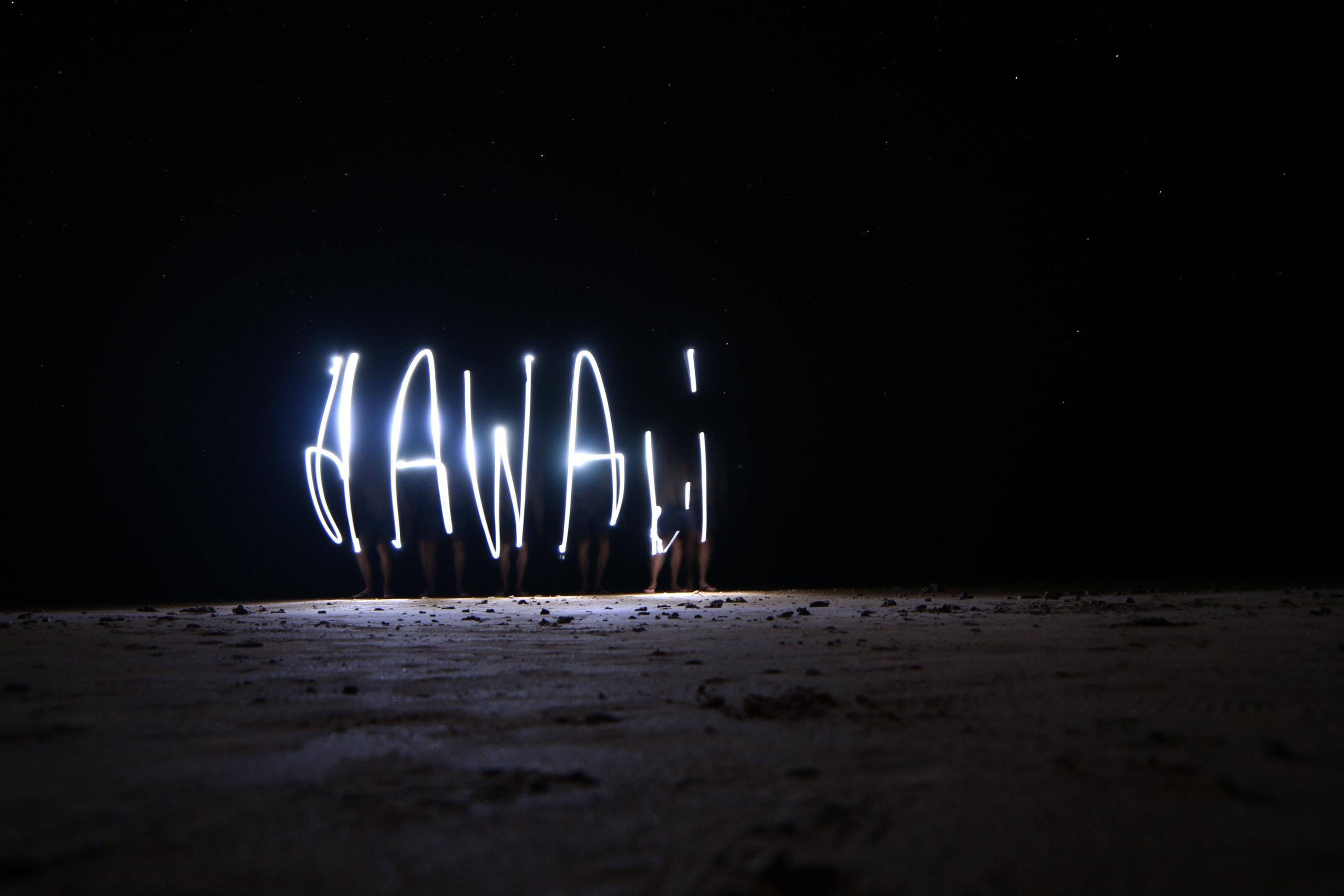 LED light forming Hawaii word