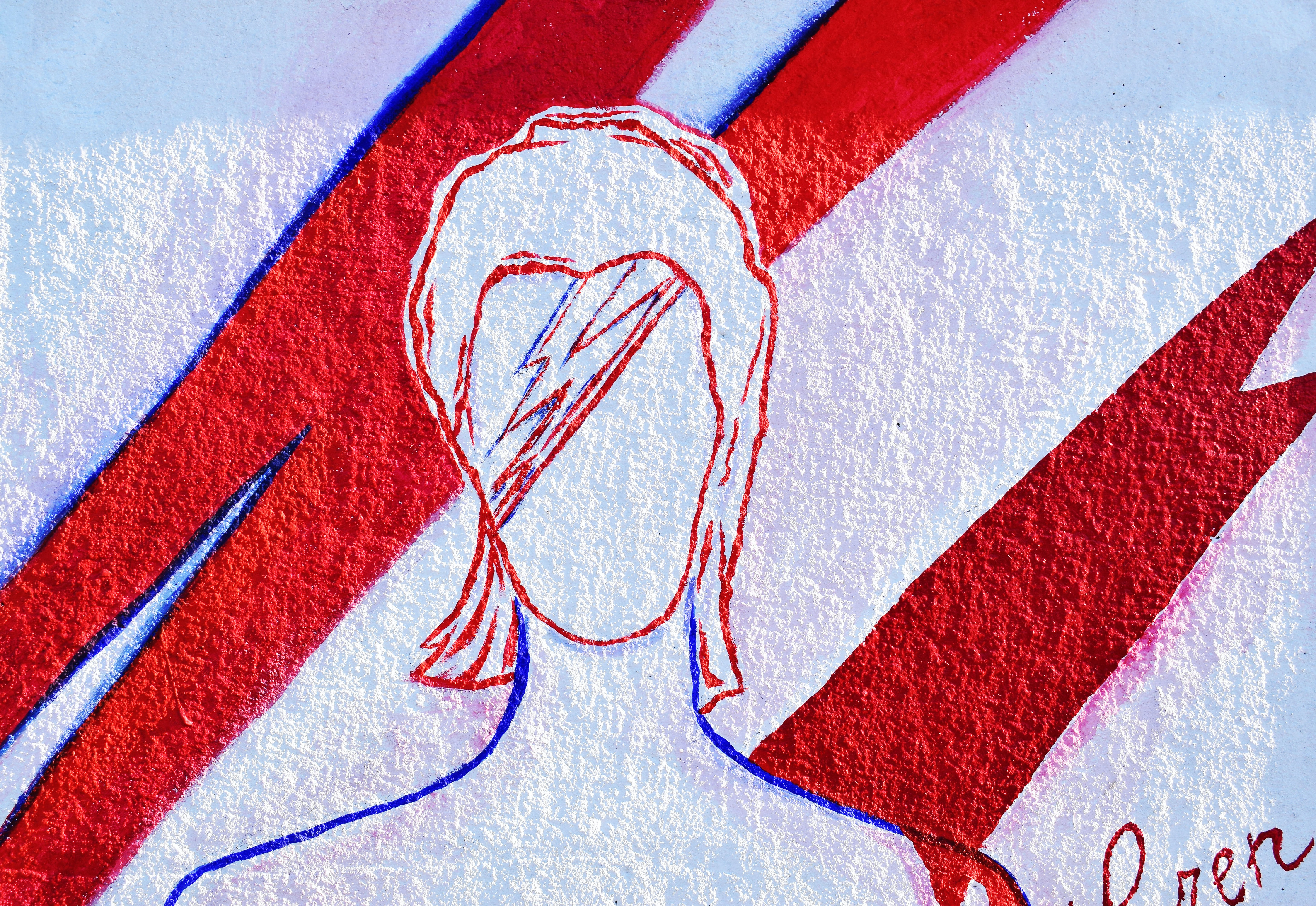 A drawing of a faceless guy with a red lightning bolt going through his head.