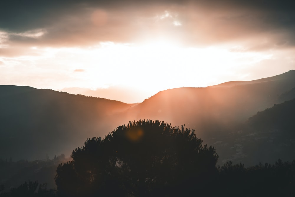 mountains during sunrise