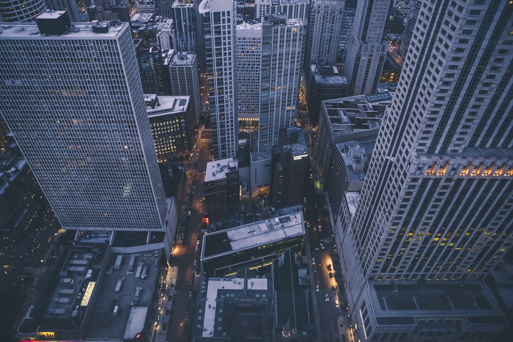 high rise building from aerial view