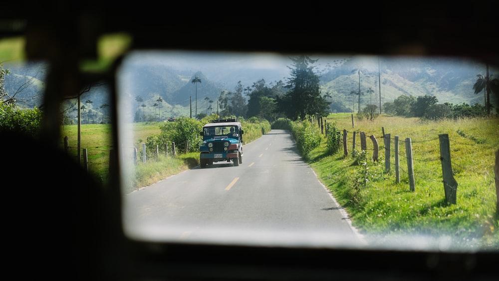reflect view on blue SUV near grass