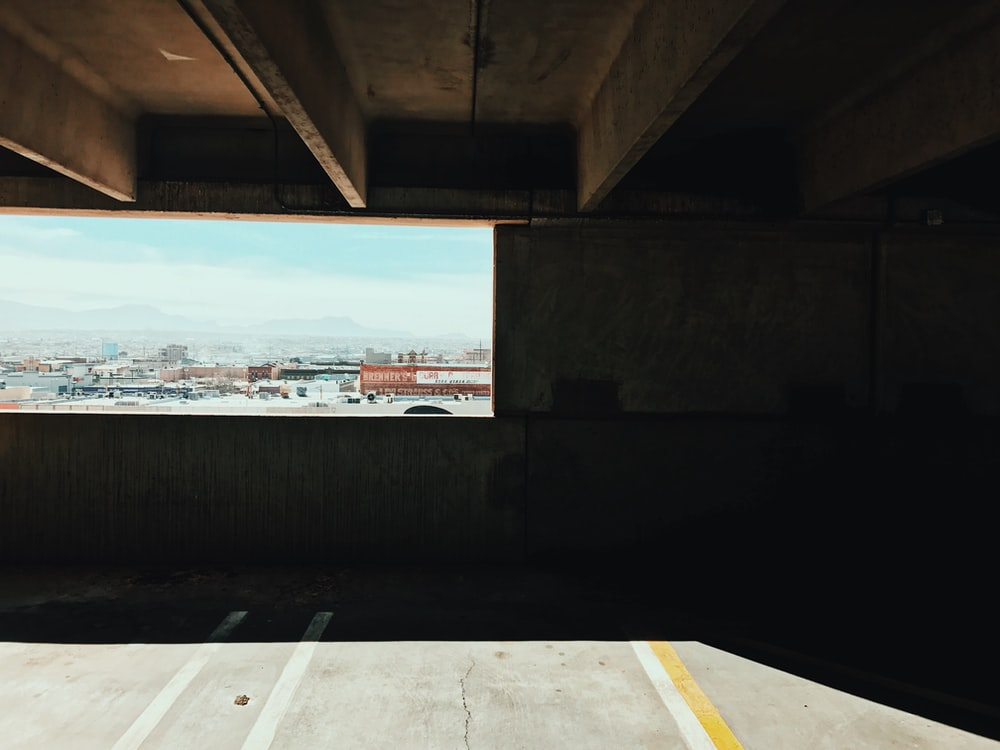 View out of a multi-story parking lot in El Paso, Texas