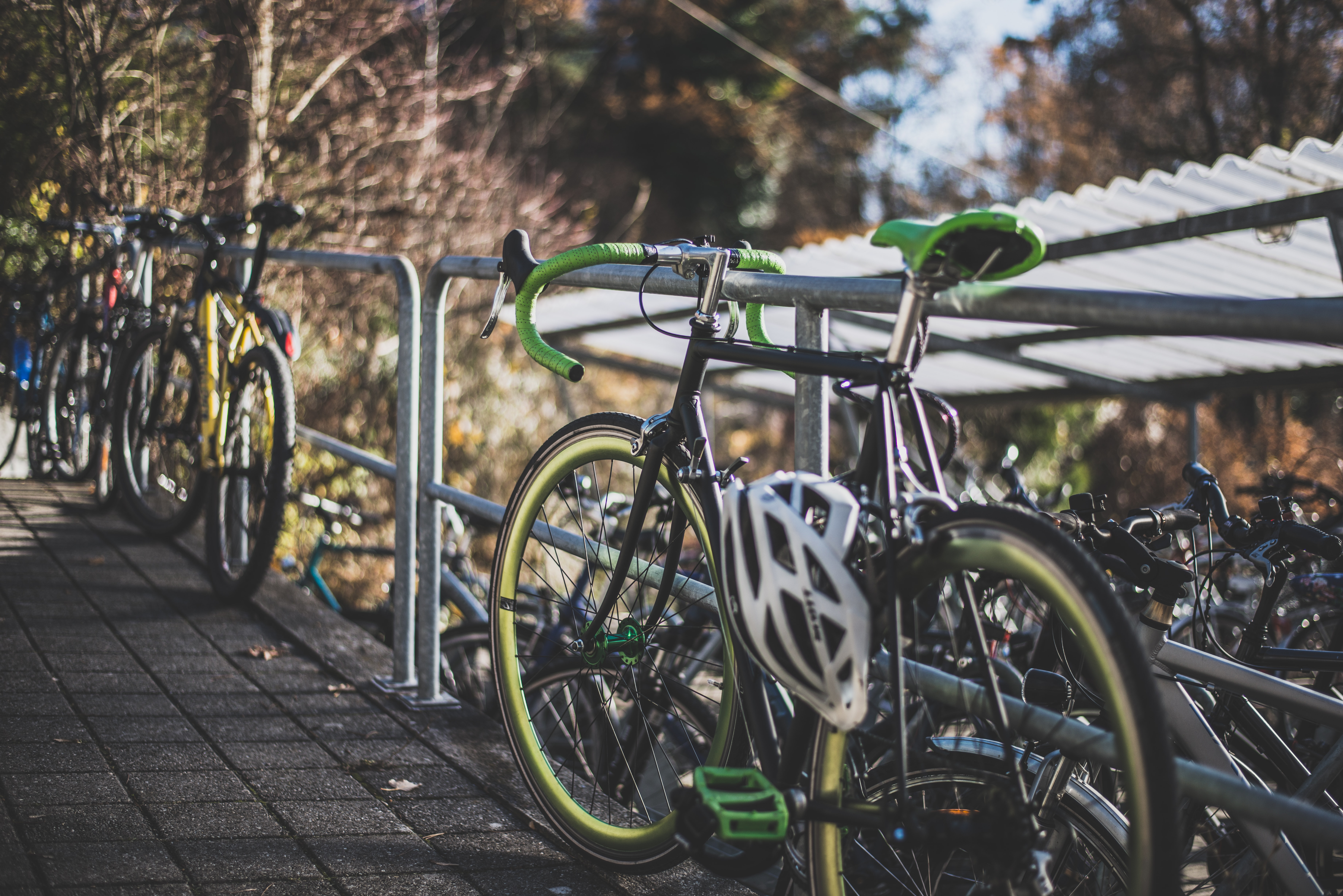 green and black road bike