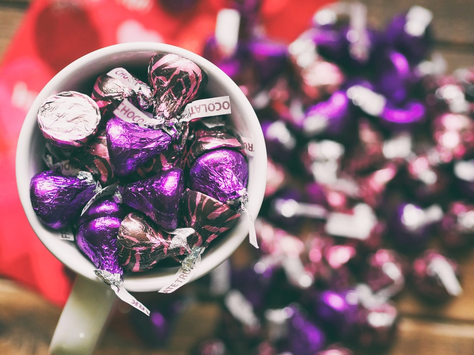 mug filled with chocolates