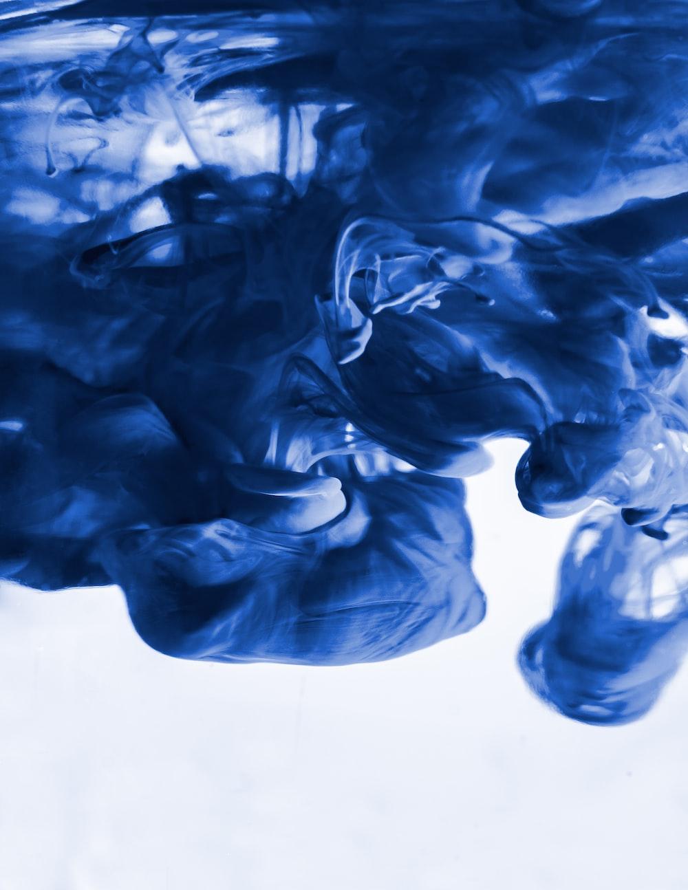 blue smoke on white background