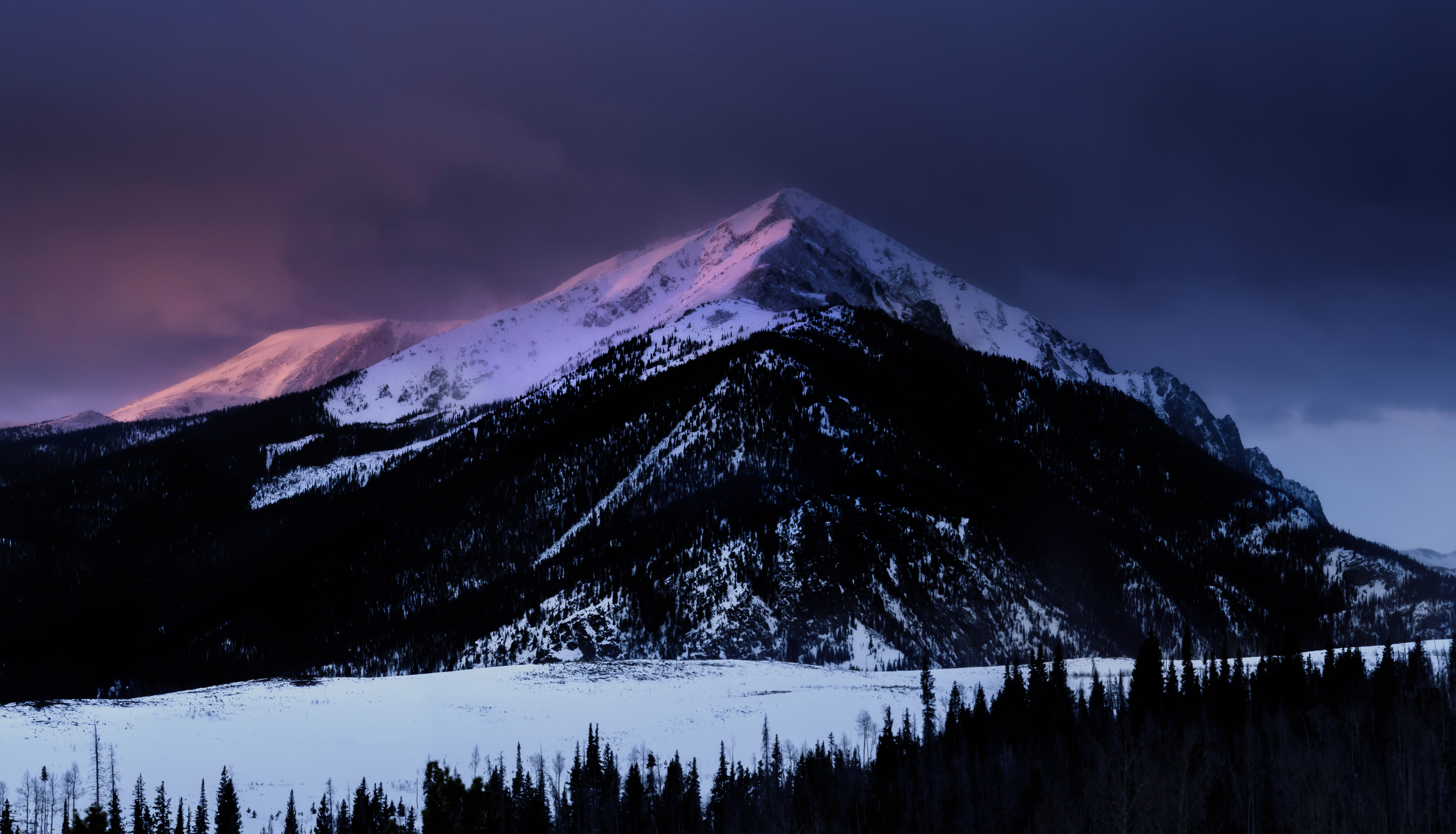 snow covered mountain photography