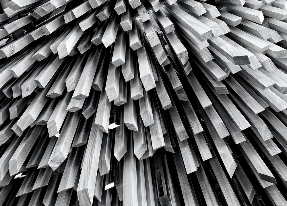 Viewing the bottom of a large collection of wooden sticks.
