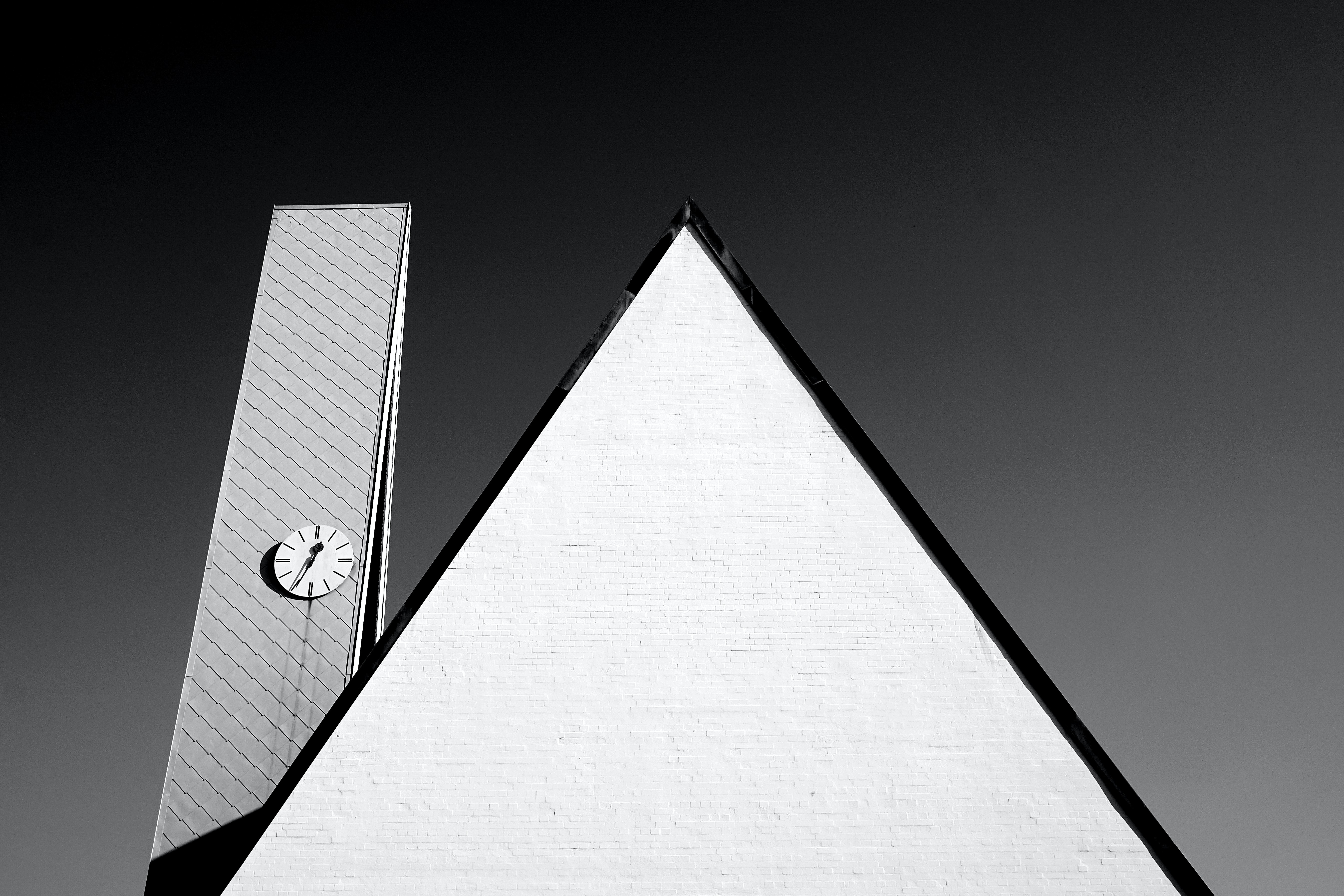 Abstract black and white shot of triangle and clock tower, Fürth, Bavaria, Germany