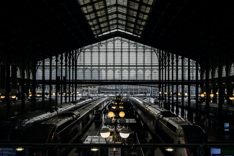 A dark moody shot of a train station
