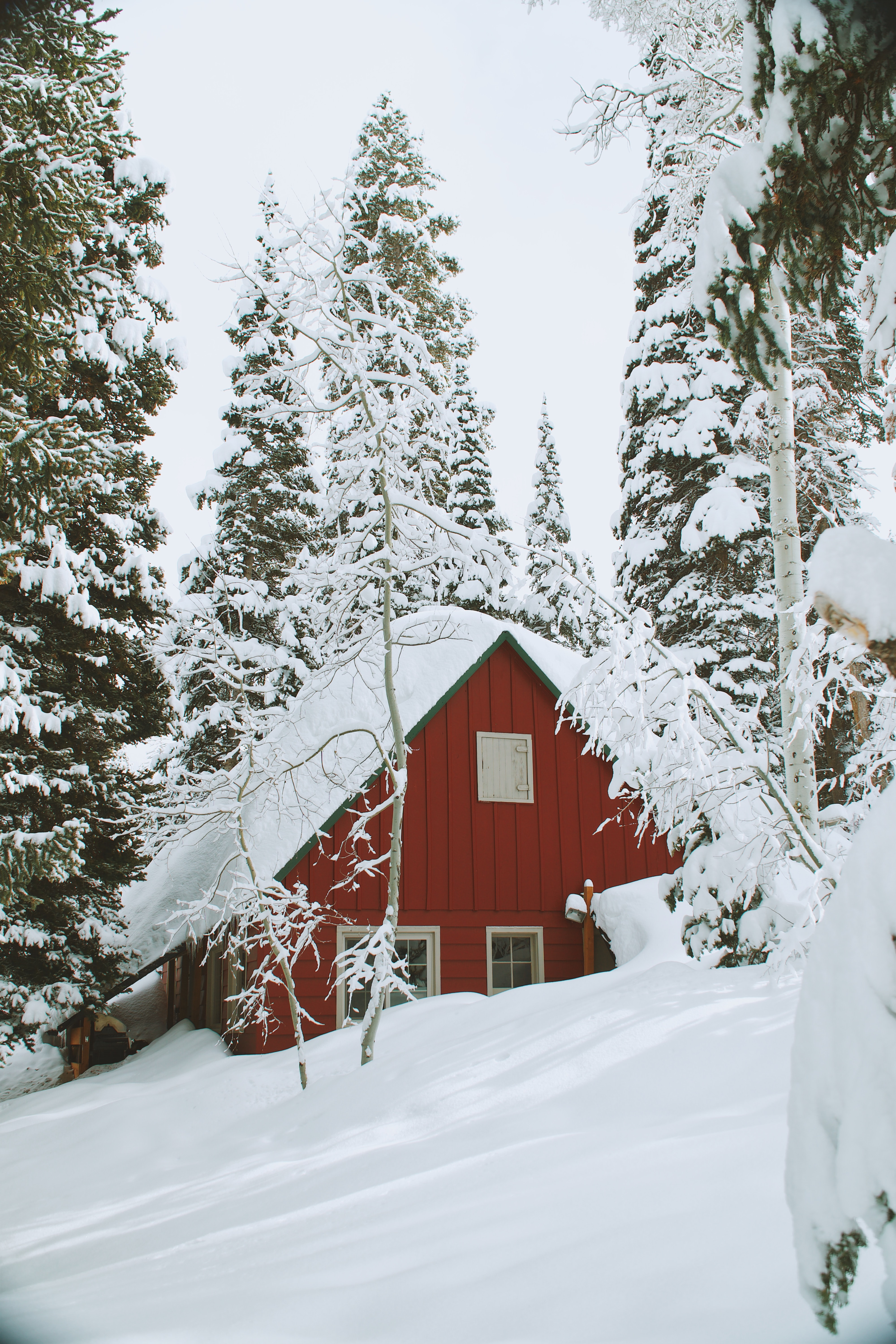 A snow covered house shaped as a trial on a winter hill in Solitude Nordic Center in Utah