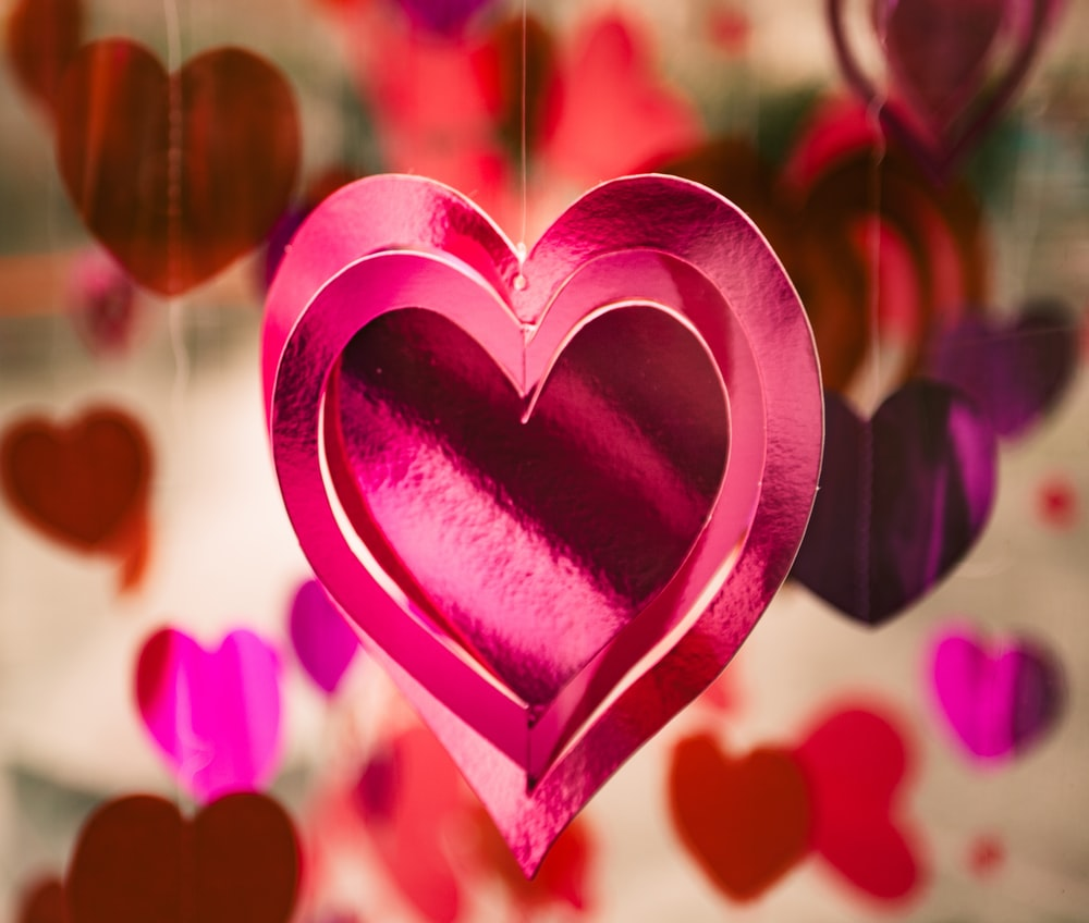Valentine's Day decorations of glittering hanging heart mobiles
