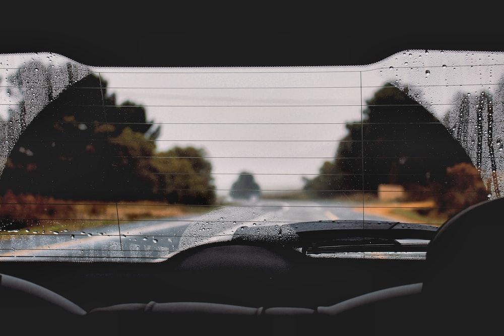 car rear dashboard with wiper
