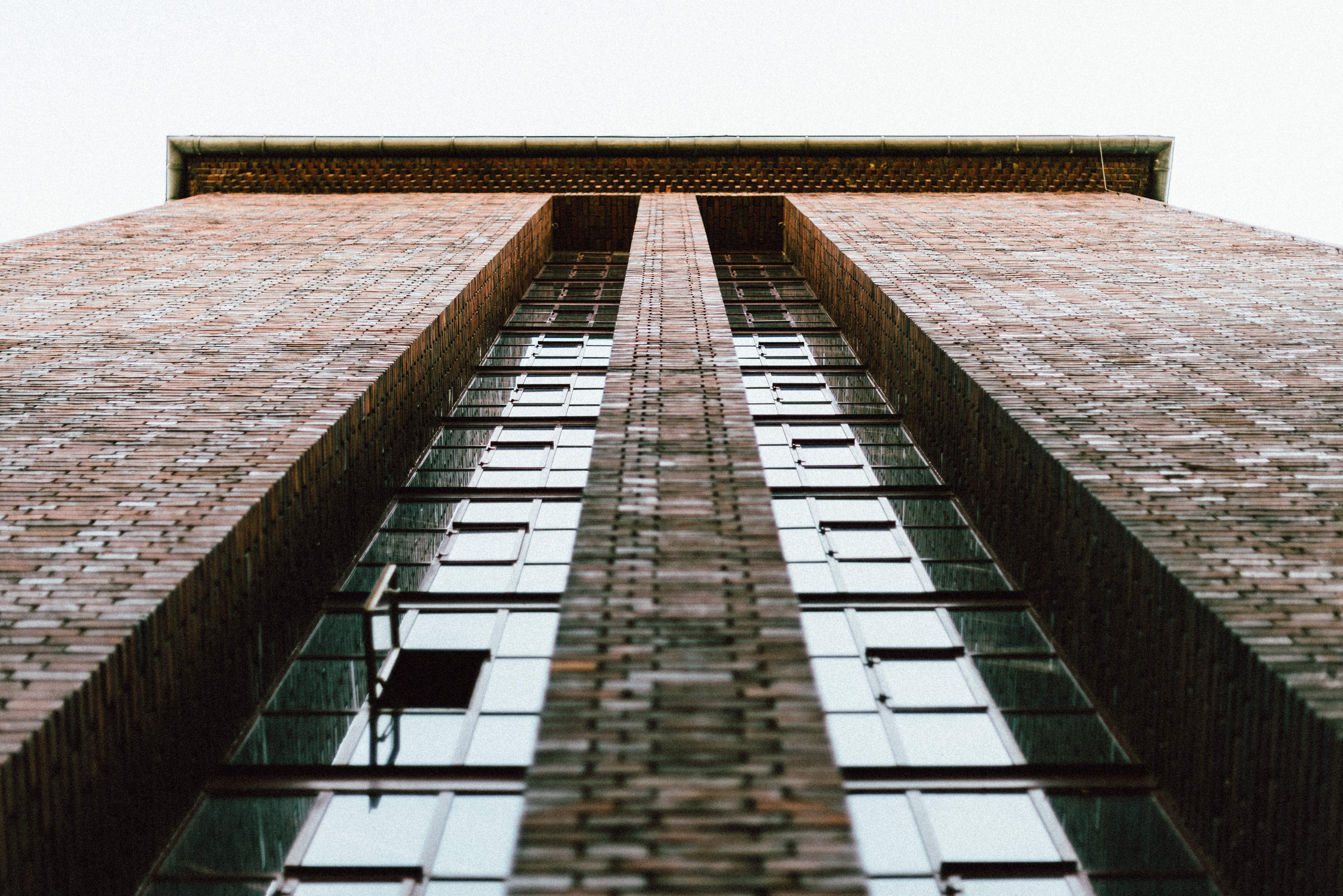 bottom view on brown concrete building