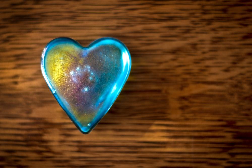 teal glass heart case