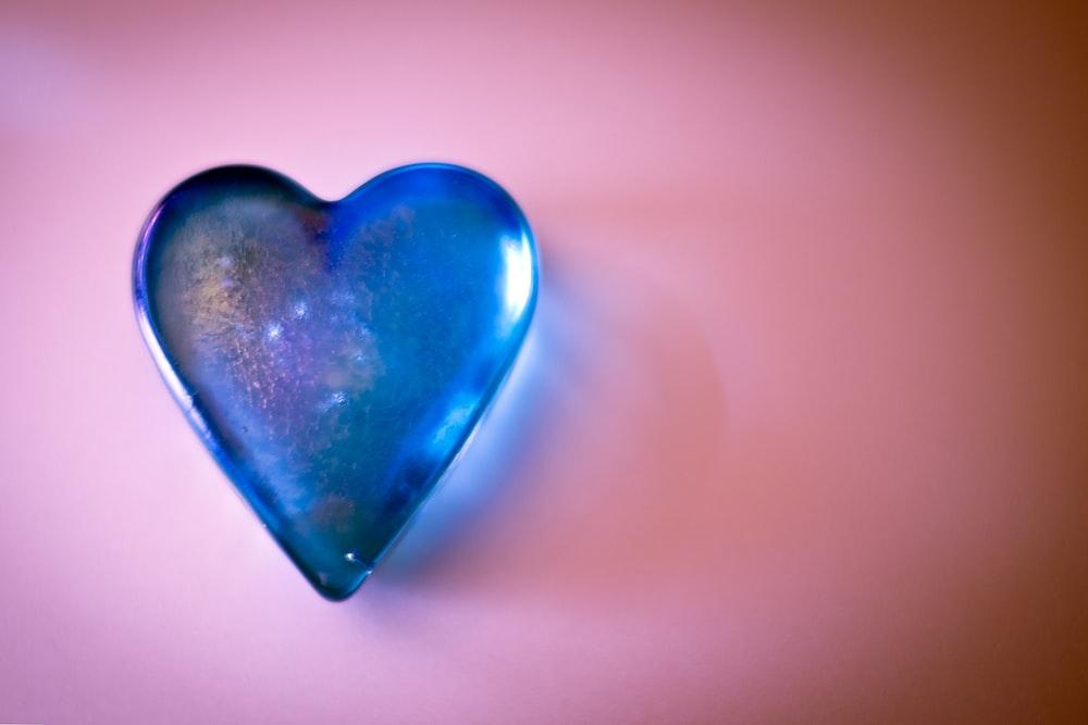 blue glass heart