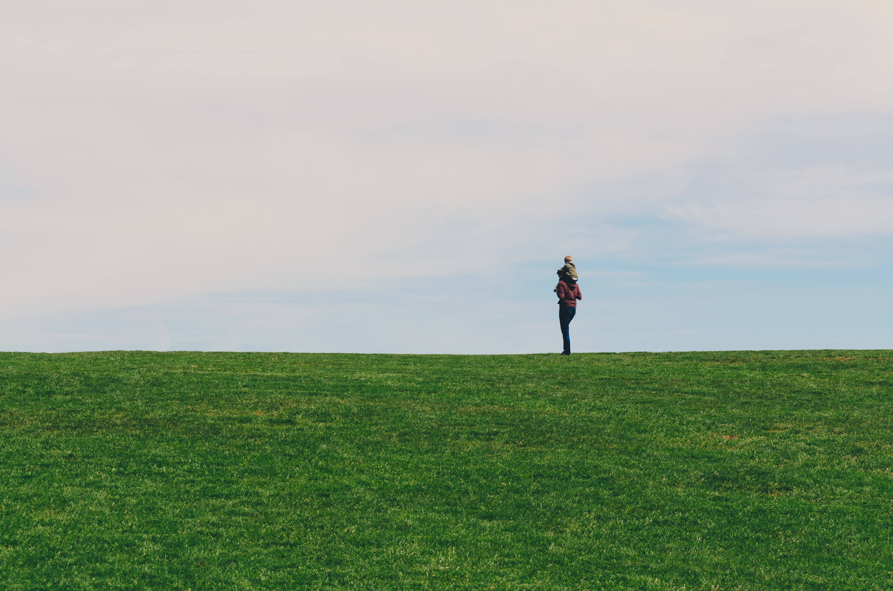 person standing on green grass field