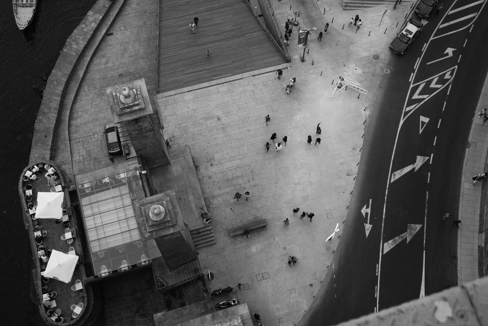 aerial grayscale photography of people on the street