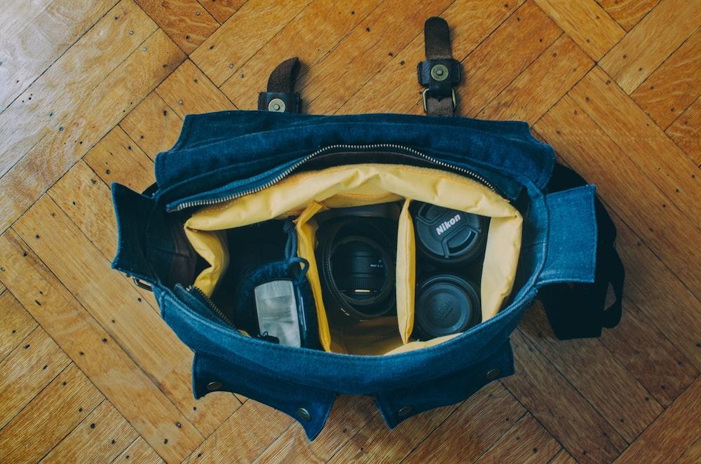 DSLR camera on bag