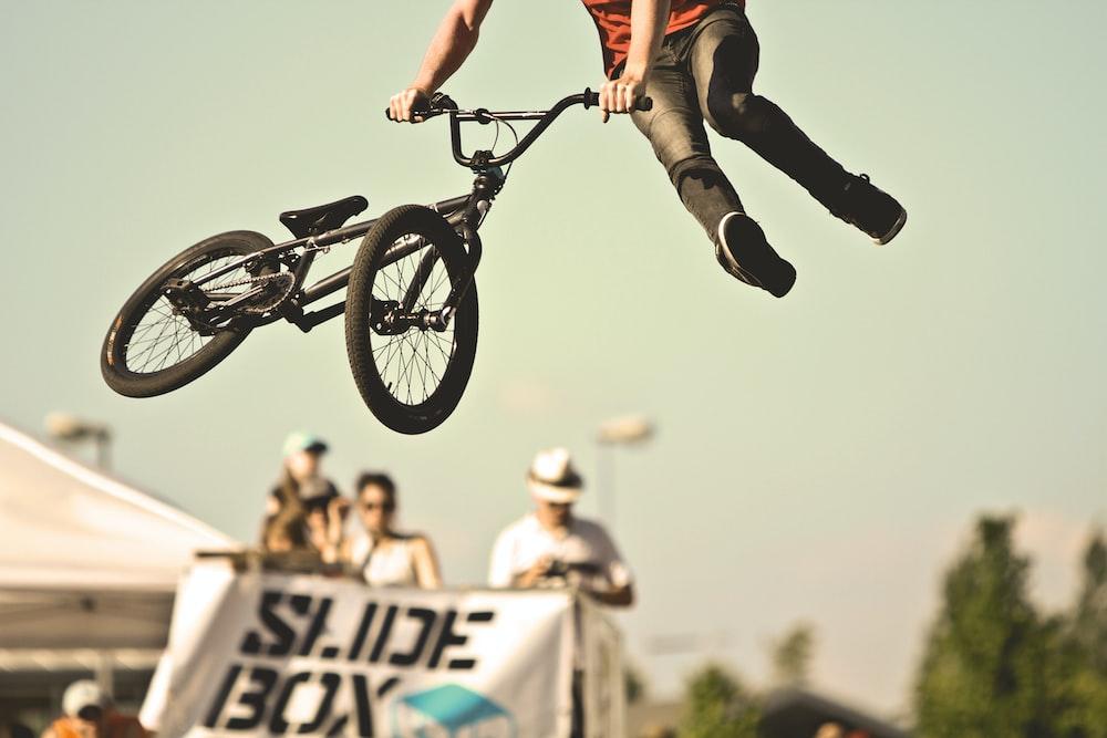 person doing BMX tricks