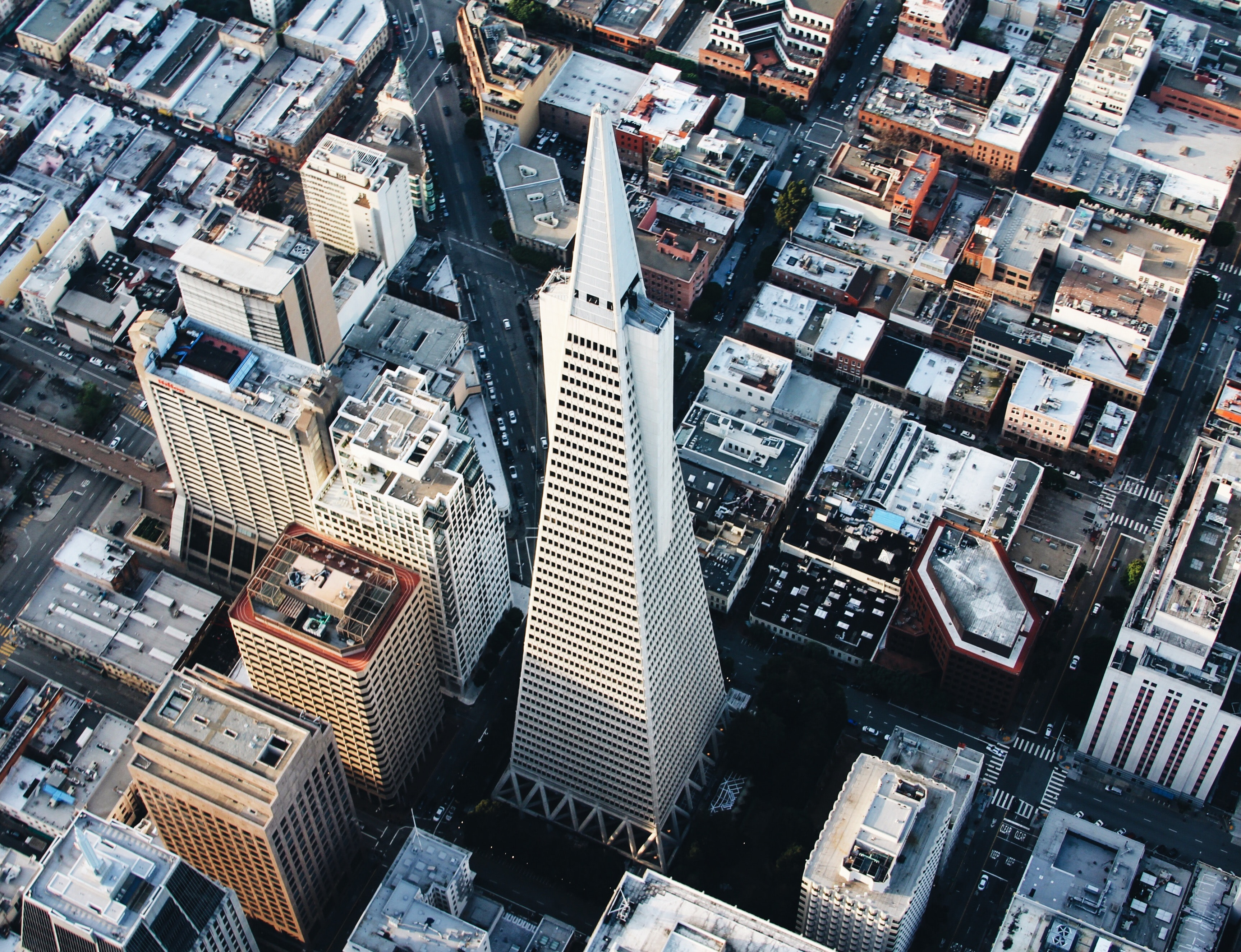 A drone shot of the Transamerica Pyramid in San Francisco