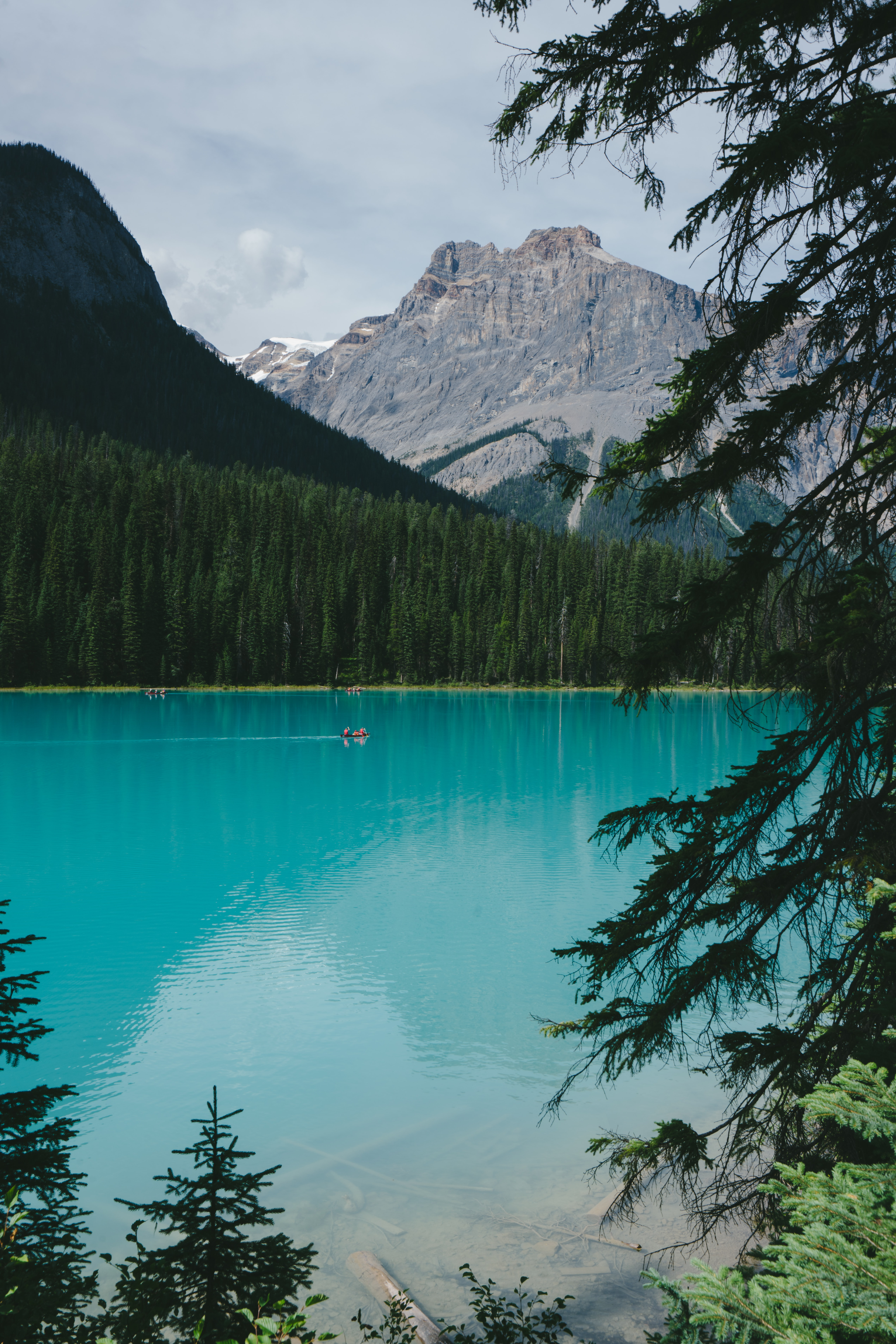 A magnificent azure lake in the mountains in Yoho National Park