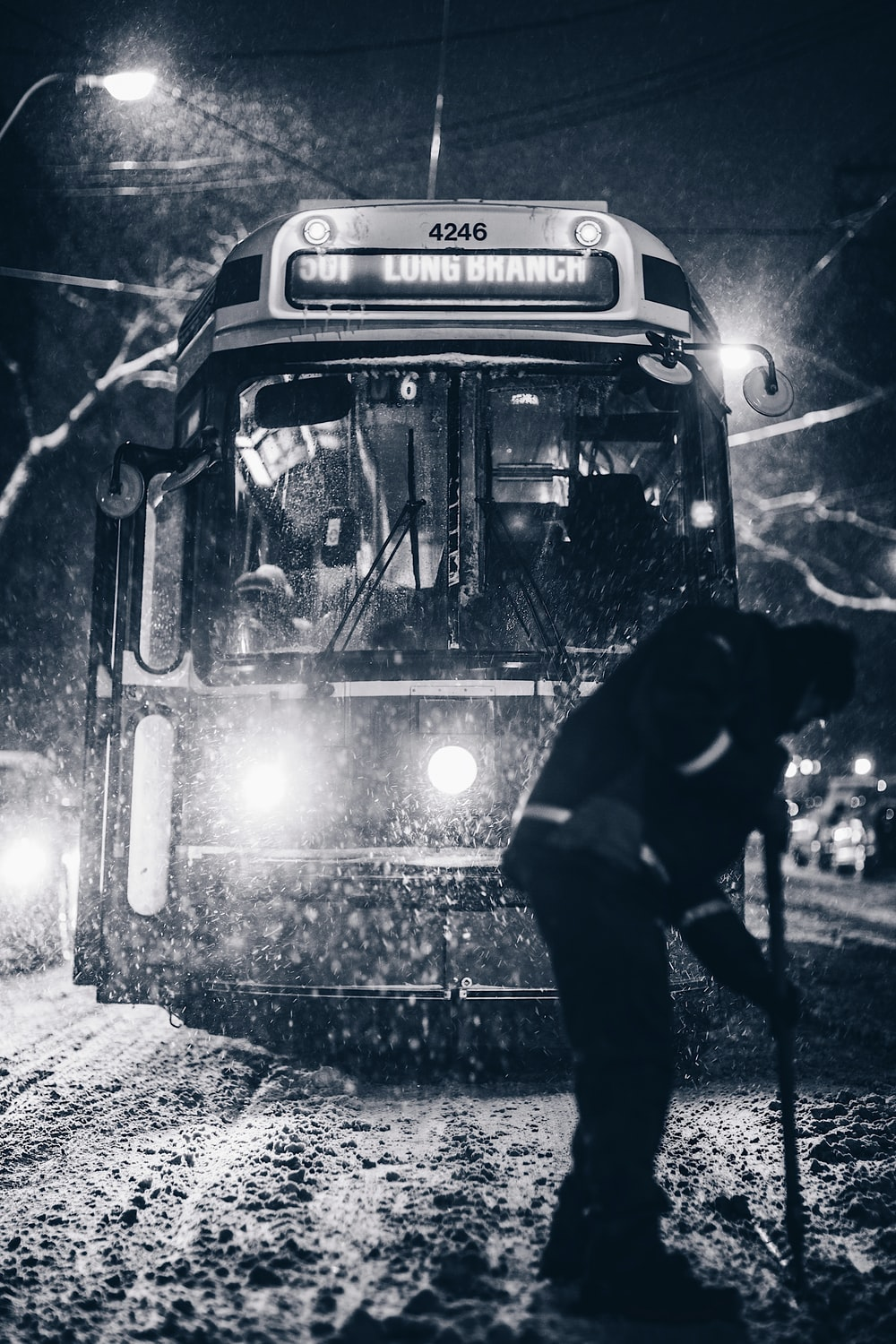 grayscale photography of bus