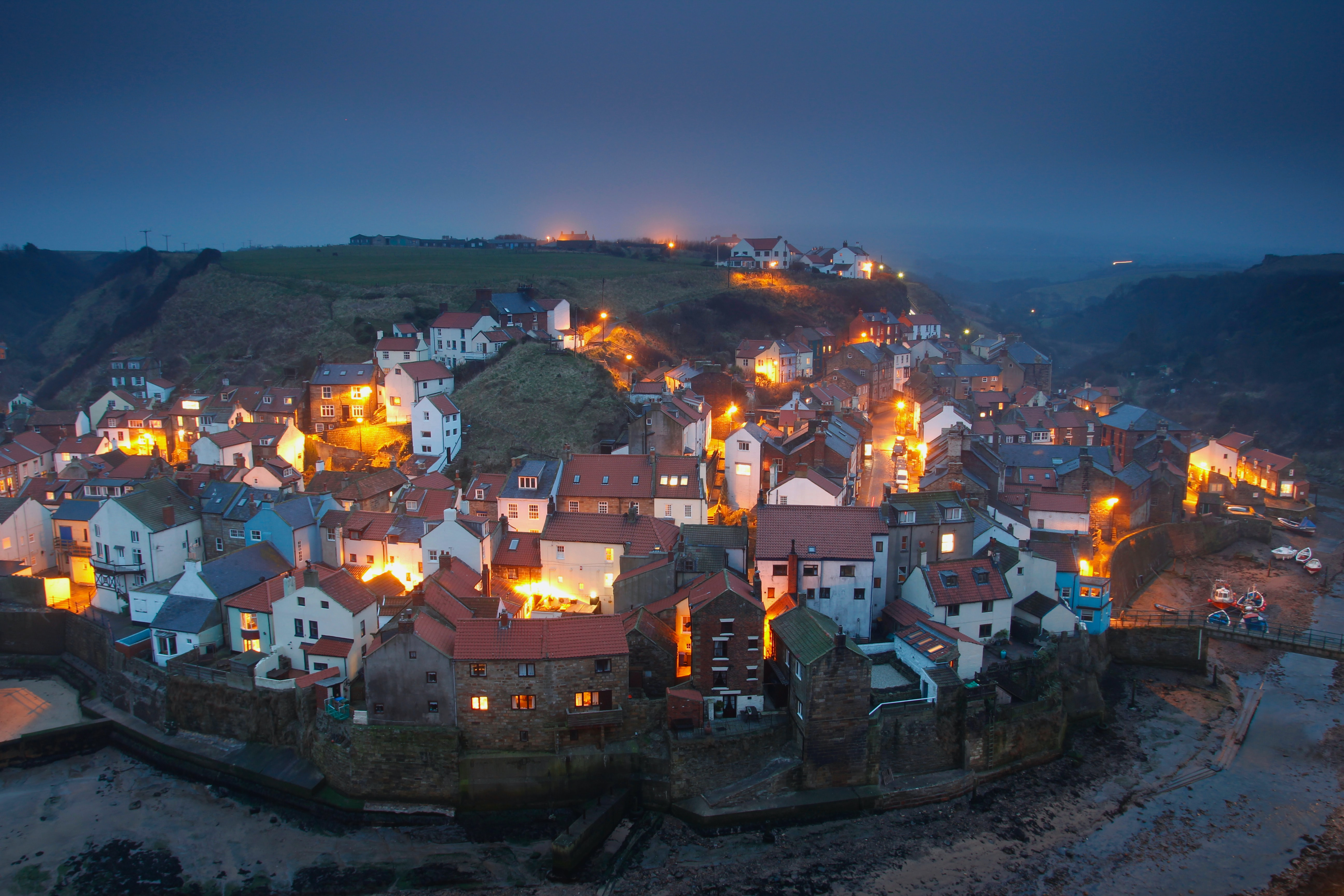 aerial view photography of village during night