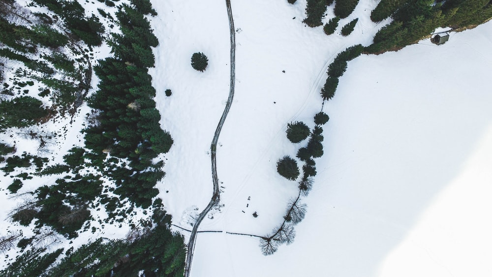 aerial photography of snowy field