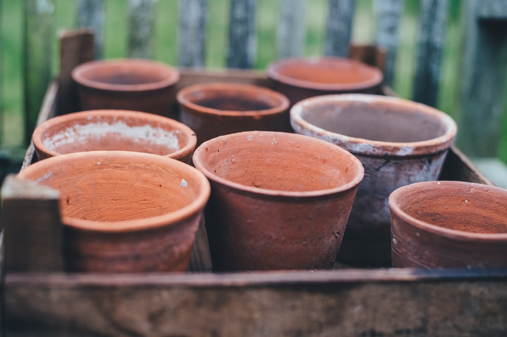 brown ceramic clay pots