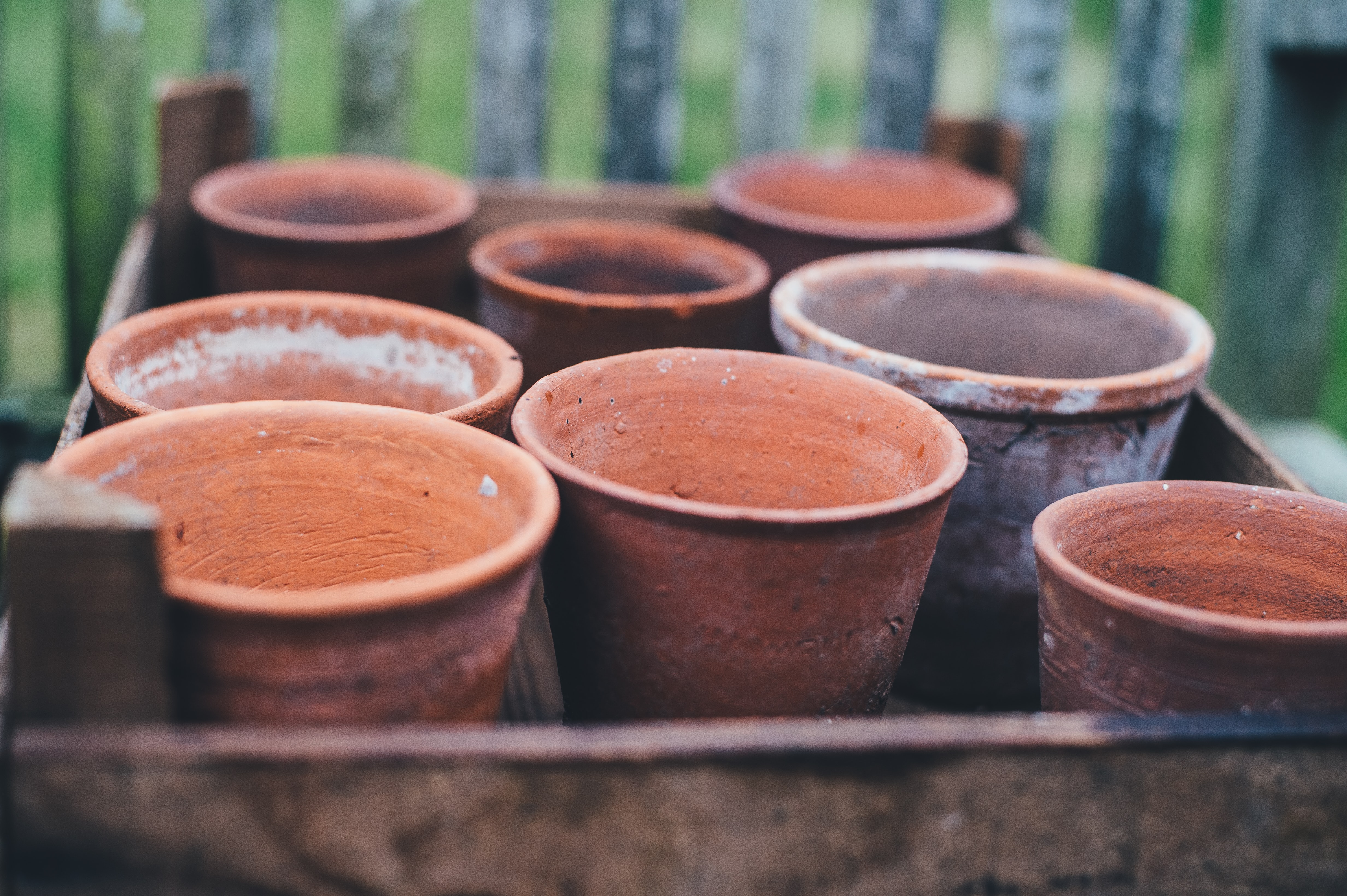 brown ceramic clay pots