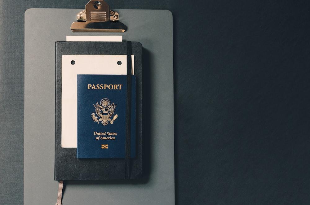 passport on clipboard