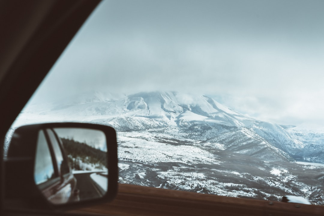 Partially hidden north face of Mt St Helens. This is where the mountain collapsed after the eruption and where most of the damage happened. Now, it's a beautiful winter drive.