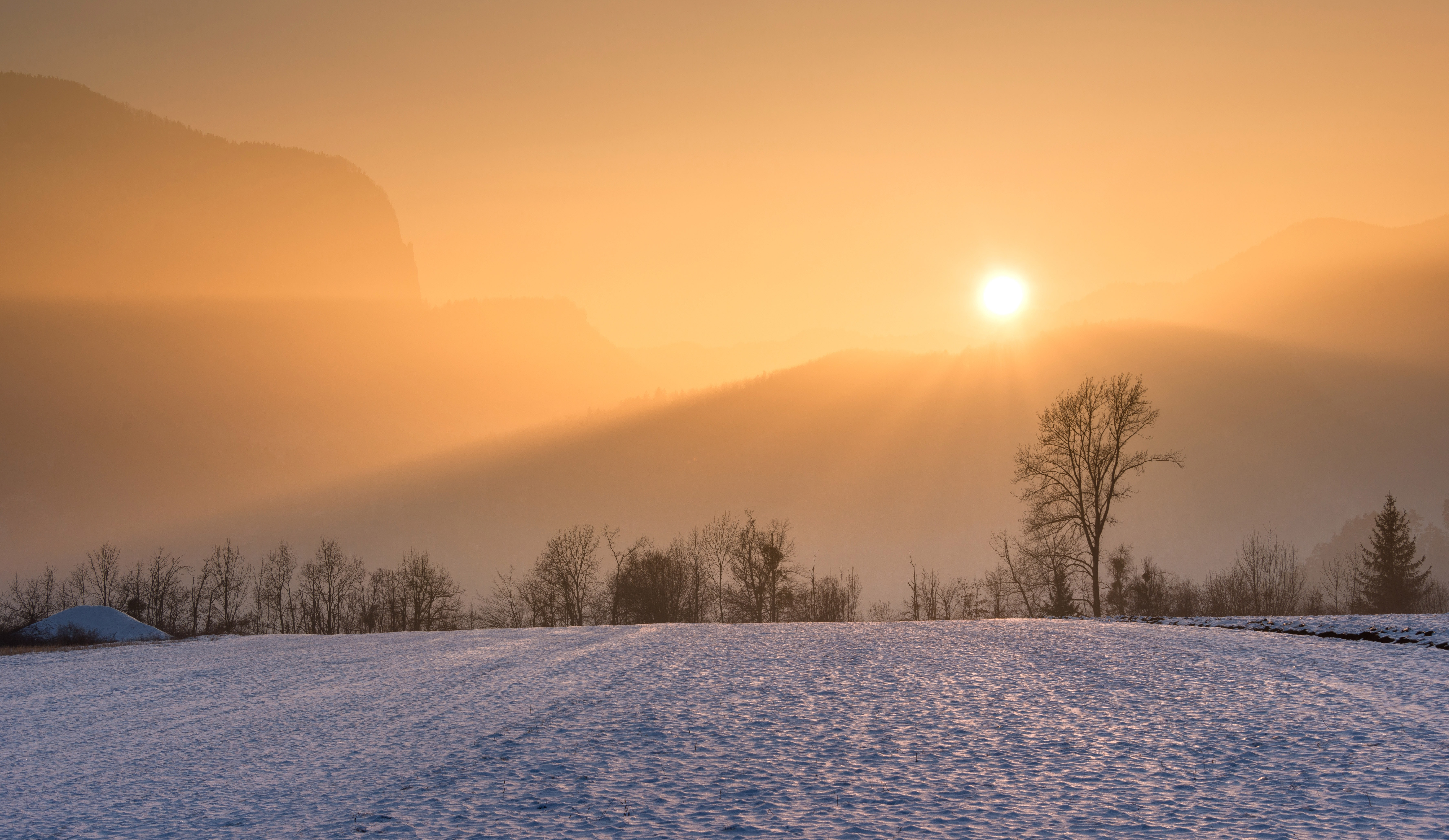 Golden rays of the sunset hit a barren snowy valley with mountains and trees in the distance