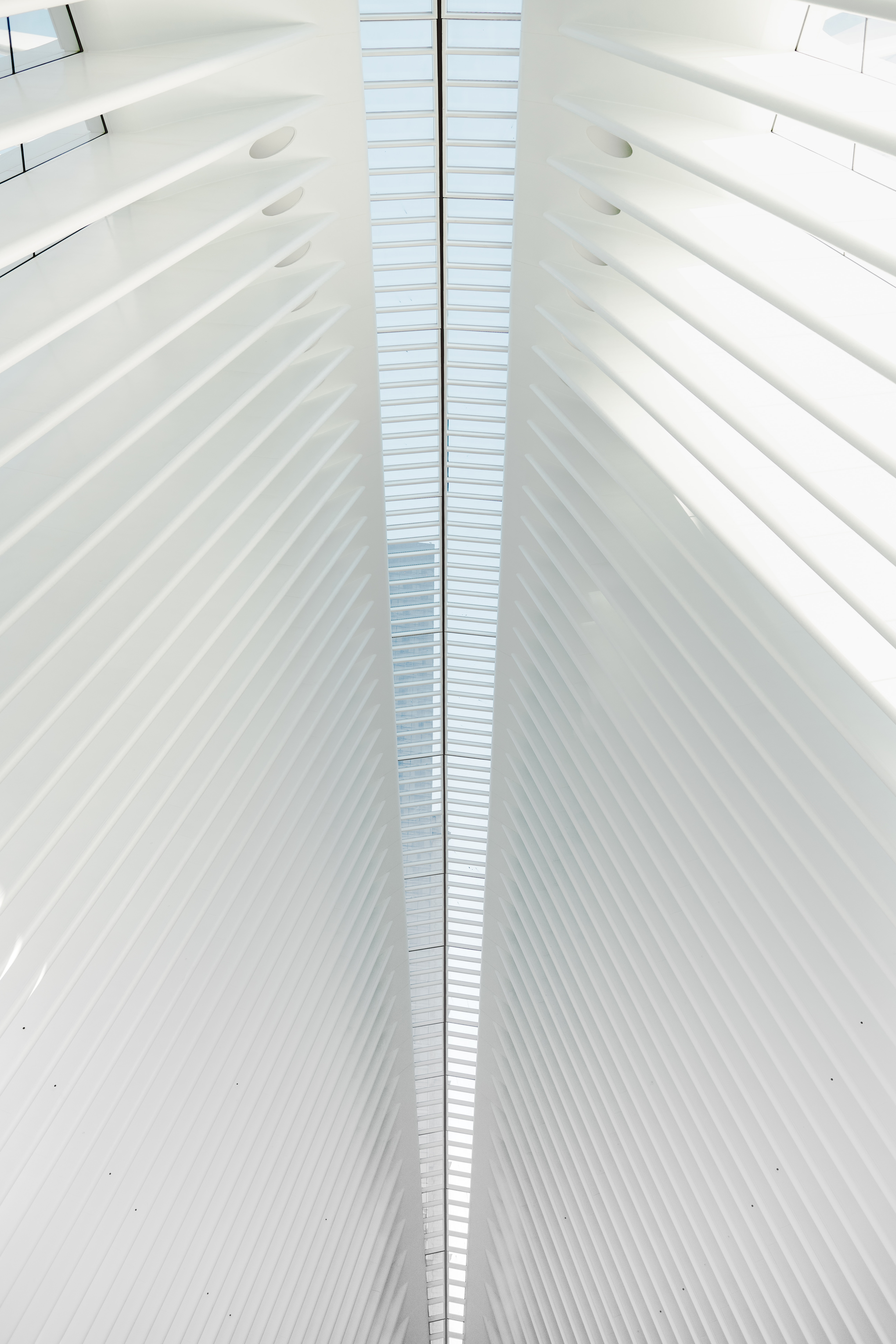 Symmetric white architecture in the shape of window shutters