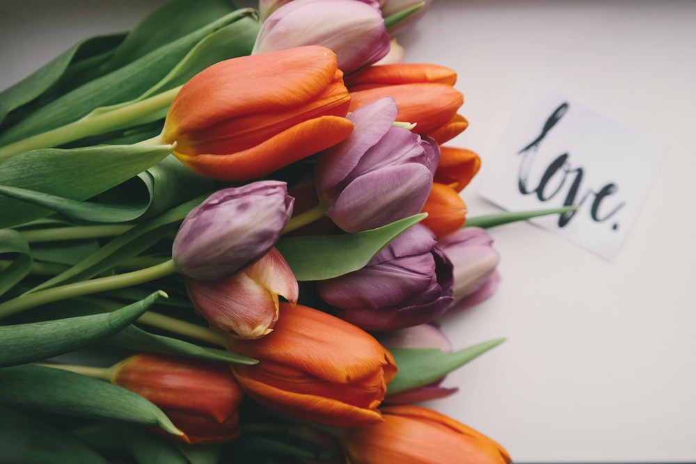 "Bouquet of purple and orange tulips on a table with a note reading ""love"" in cursive"