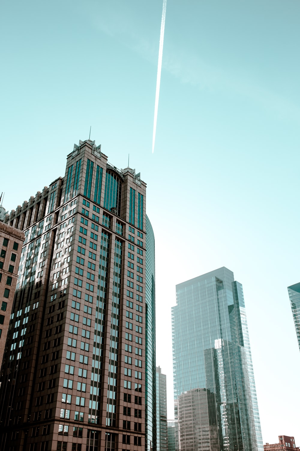 low angle photography of curtain wall buildings taken under clear sky