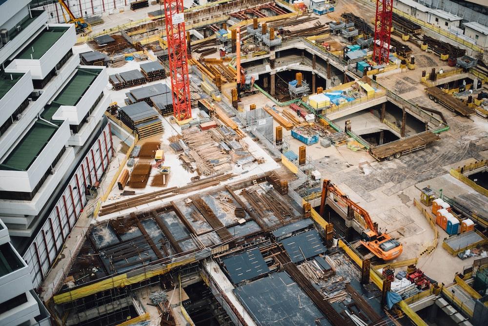 Vista aérea da construção de um prédio