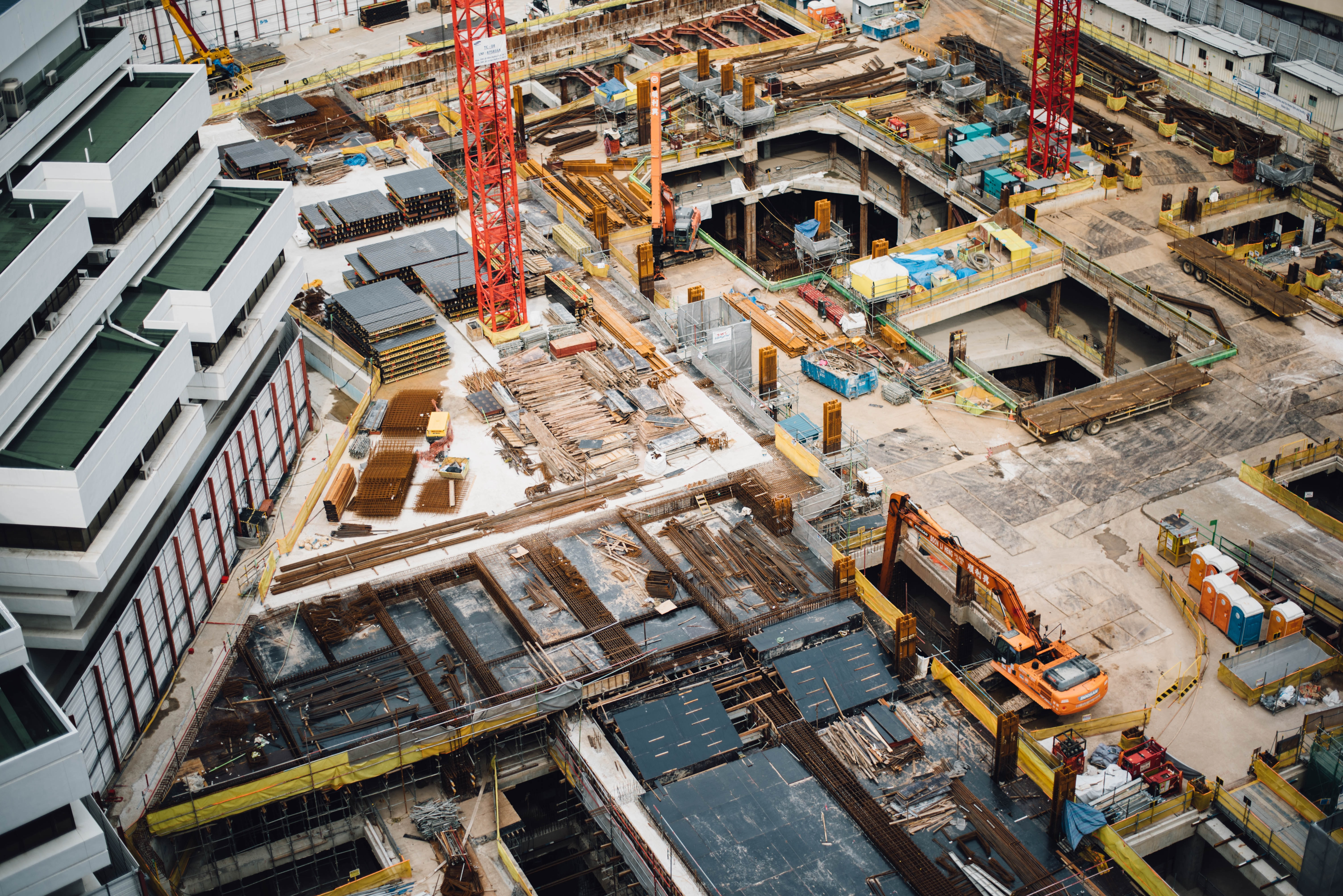 A view from above a construction site.