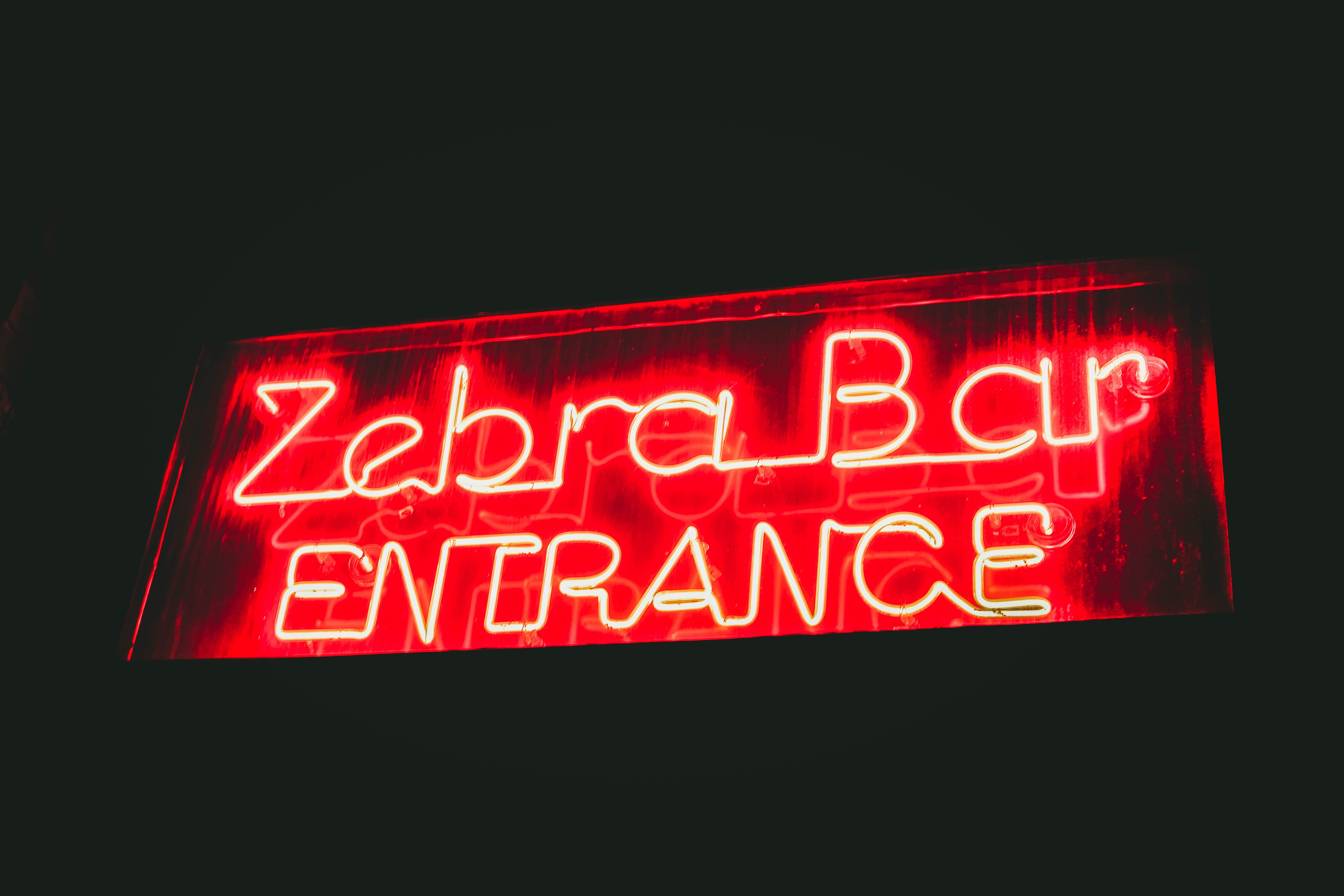 Zebra Bar Entrance signage