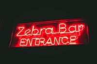 Zebra Bar Entrance signage