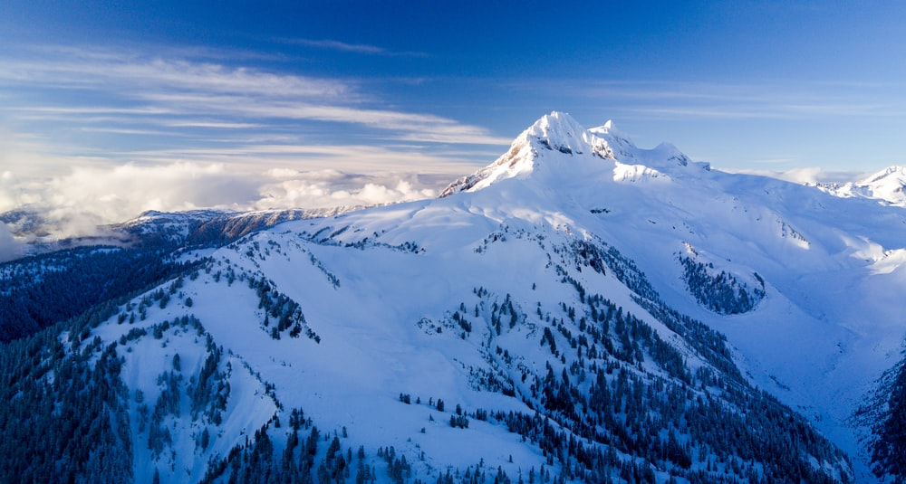 aerial view photography of snow-covered mountain under cloudy sky during daytime