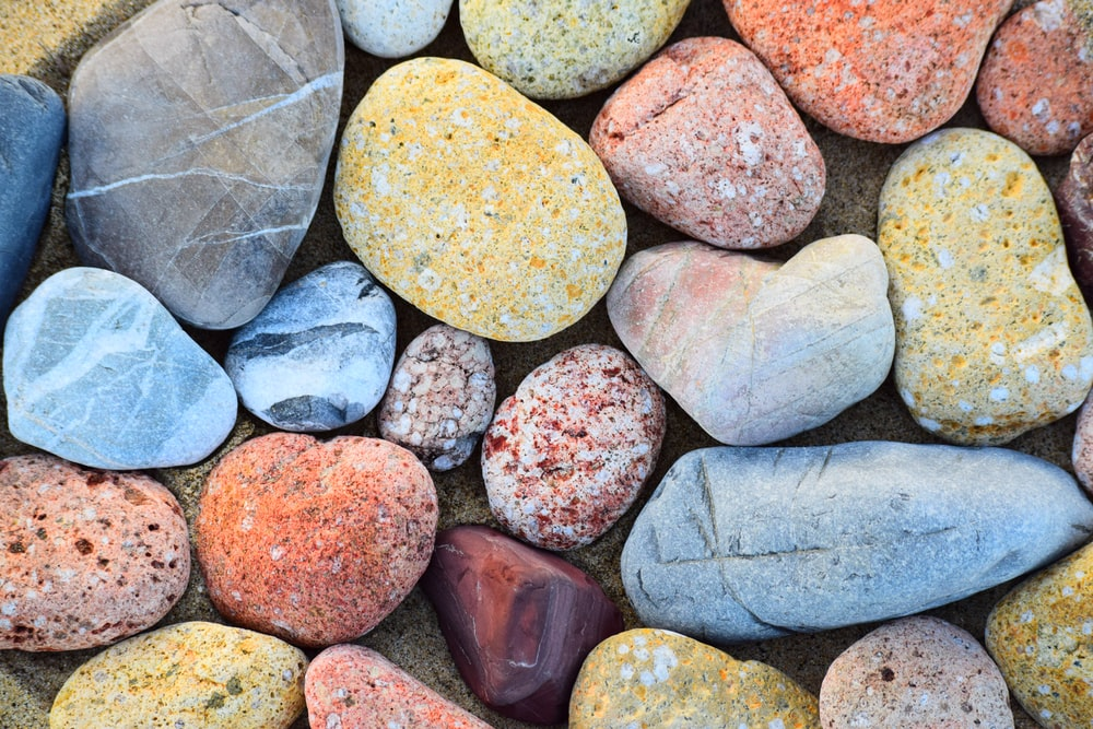 brown yellow and gray stones