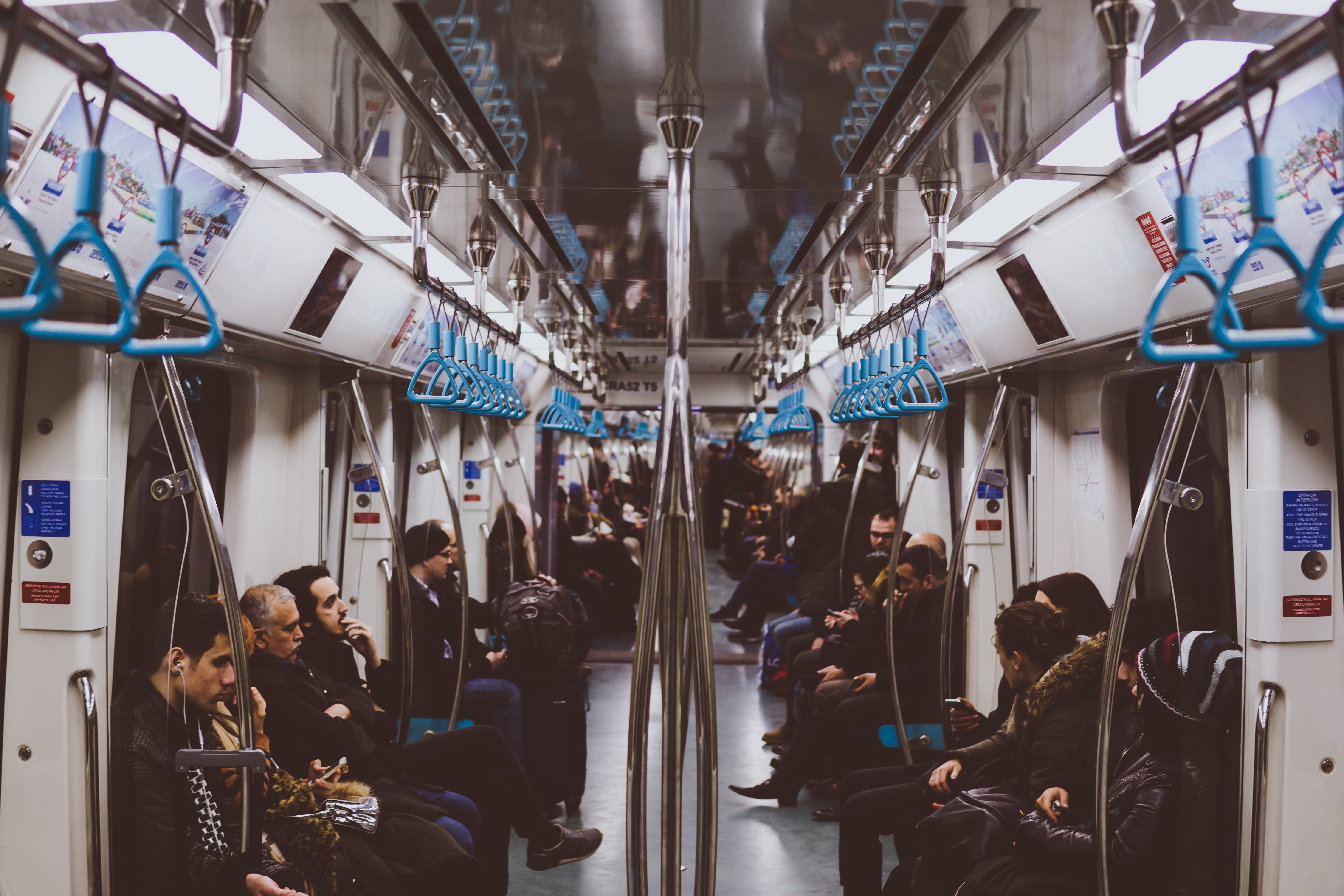 The interior of a subway train in Istanbul