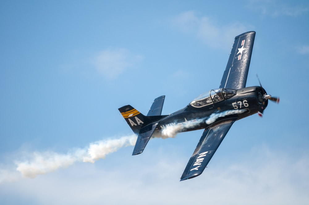 black biplane doing aerobatics