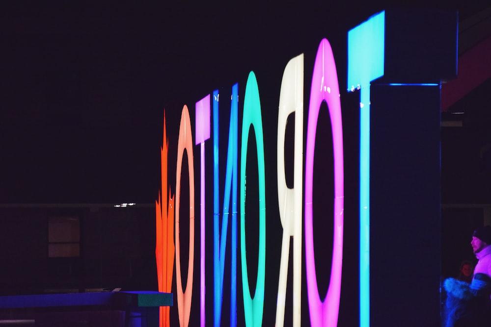 Toronto multicolored LED signage taken during night time